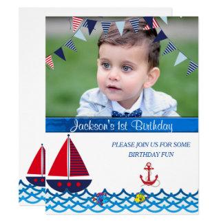 Bébé, anniversaire, invitation nautique et faite