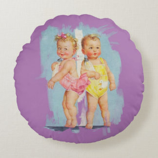 Bébé/bébé - arrière - plan personnalisable coussins ronds