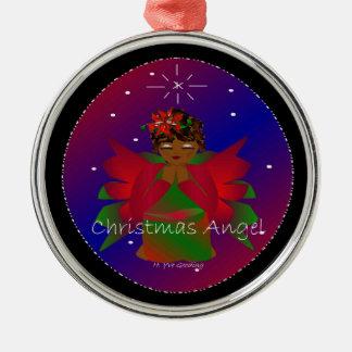 Bébé d'ange de Noël autour du monde dans le noir Ornement