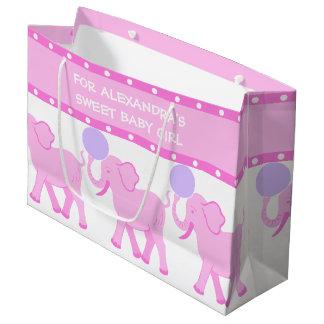 Bébé doux de baby shower rose du cirque | mignon grand sac cadeau