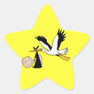 Bébé et cigogne nouveau-nés sticker étoile