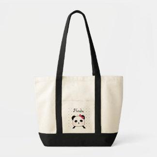 Bébé noir et blanc d'amour de panda tote bag