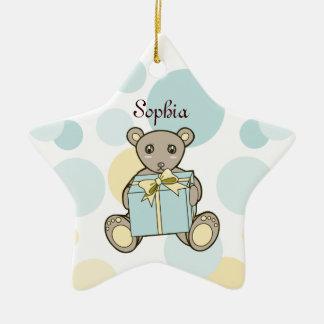Bébé ou fille mignon d'ours de nounours ornement étoile en céramique