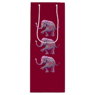 Bébé peint espiègle rouge d'éléphant de Bourgogne Sac Cadeau Pour Bouteille
