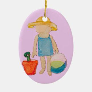 Bébé sur le timbre de rose rose d'anniversaire de ornement ovale en céramique