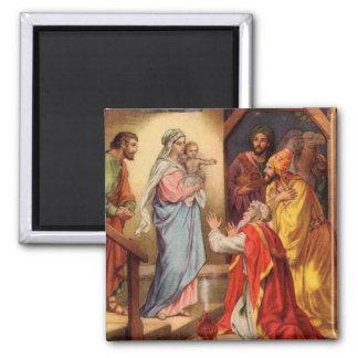 Bébé vintage Jésus et 3 rois Aimant