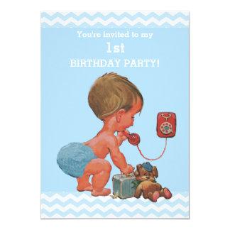 Bébé vintage sur anniversaire de chevrons bleus de carton d'invitation  12,7 cm x 17,78 cm