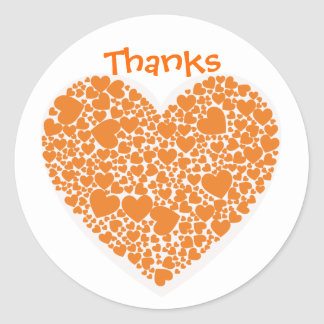 Bedankt, oranje en witte harten ronde stickers