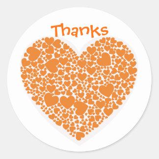 Bedankt, oranje en witte harten sticker