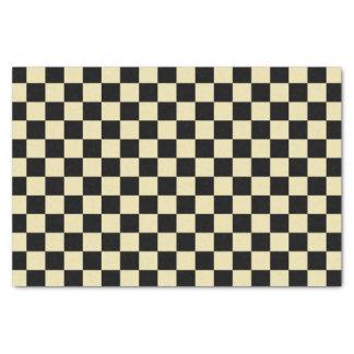 Beige et noir Checkered Papier Mousseline