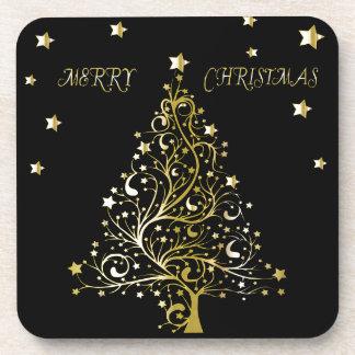 Bel arbre de Noël métallique étoilé d'or Dessous-de-verre
