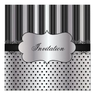Bel argent | de rayure toute occasion carton d'invitation  13,33 cm