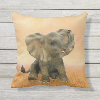 Bel éléphant africain de bébé oreillers