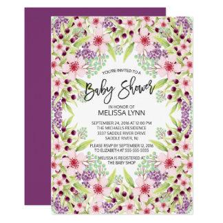 Bel invitation floral moderne de baby shower de