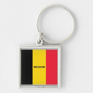 Belgische Vlag keychain Zilverkleurige Vierkante Sleutelhanger