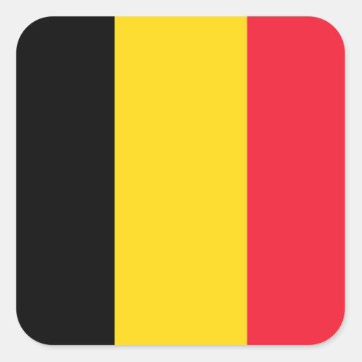 Belgische Vlag Vierkante Sticker
