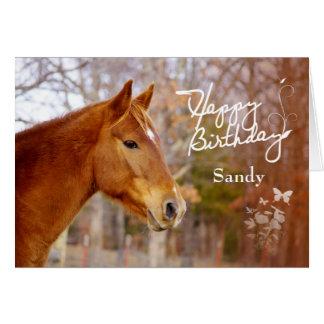 Belle carte de voeux d'anniversaire de cheval de