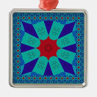 Belle couleur féminine égyptienne extraordinaire ornement carré argenté