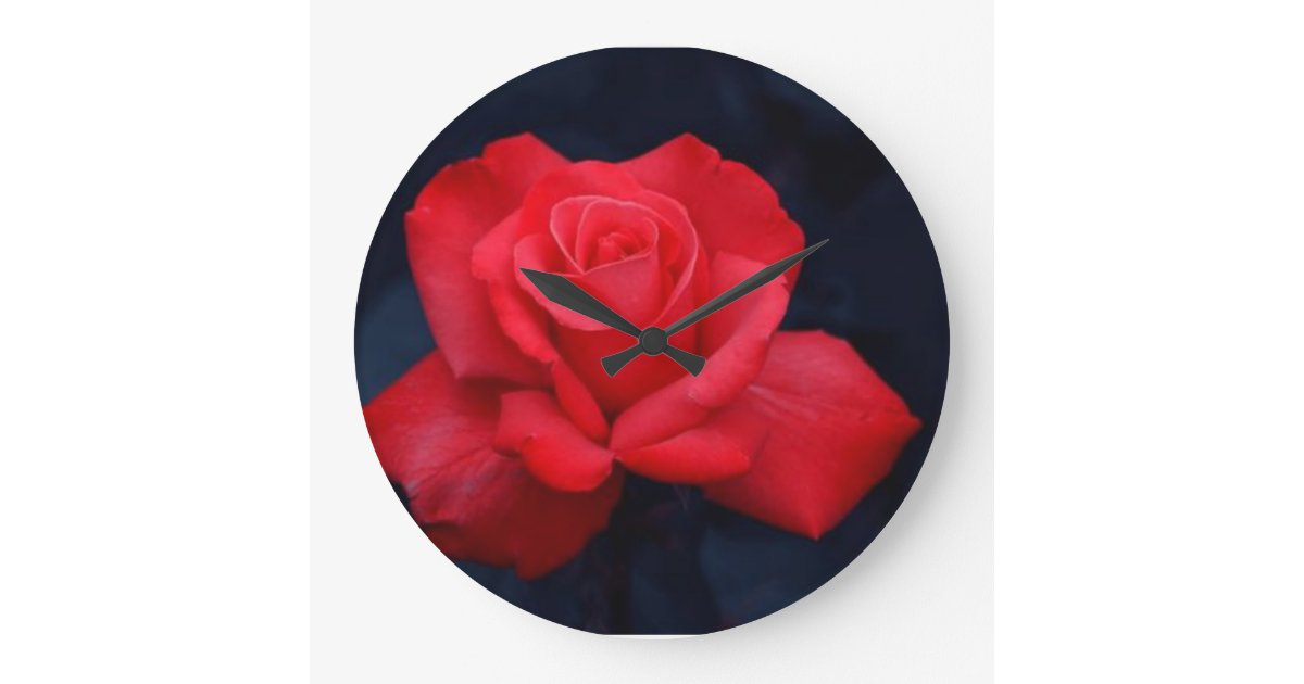 belle horloge murale de rose rouge de nature zazzle. Black Bedroom Furniture Sets. Home Design Ideas