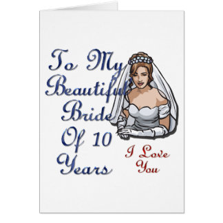 Belle jeune mariée de 10 ans carte de vœux
