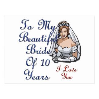 Belle jeune mariée de 10 ans carte postale