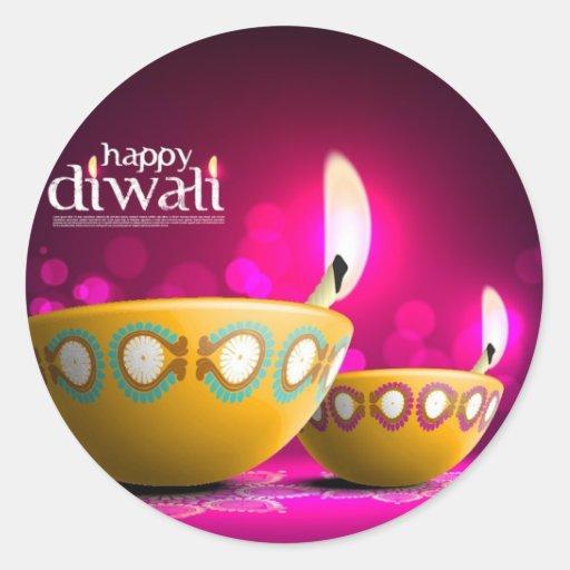 Belle lampe de Diwali d'arrière - plan pourpre Autocollant Rond