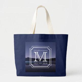 Belle photo de paysage de monogramme beau simple grand tote bag