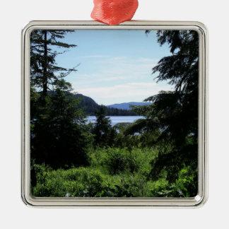 Belle photographie de l'Alaska de paysage d'Alaska Ornement Carré Argenté