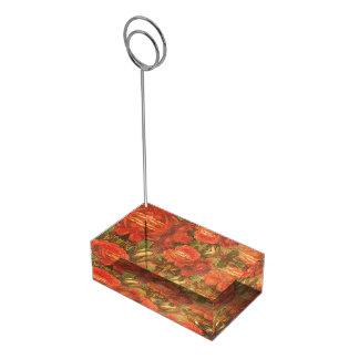 Belle substance collante vintage de roses porte-carte de table