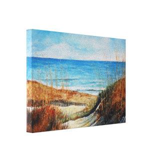 Belles dunes de sable et toile peintes de plage