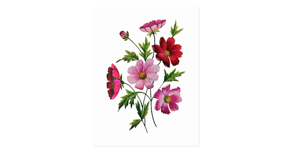 Belles fleurs de cosmos en broderie de laine à cartes ...