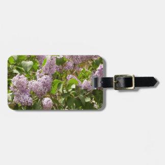 Belles fleurs pourpres lilas de ressort de Bush Étiquette À Bagage