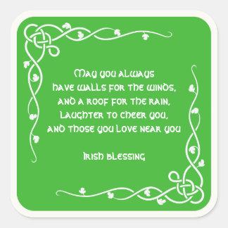 Bénédiction irlandaise blanche et verte de tresse sticker carré