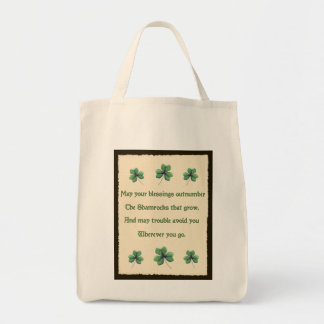 Bénédiction irlandaise de shamrocks tote bag