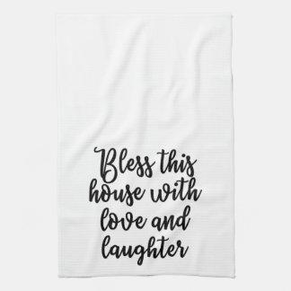 Bénissez cette maison avec la serviette d'amour et linges de cuisine