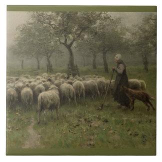Bergère avec un troupeau des moutons, mauve