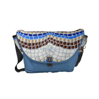 Besace Petit sac messenger à mosaïque bleue