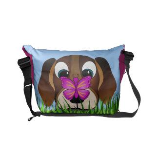 Besaces Chien mignon de beagle et sacs messenger roses à