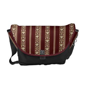 Besaces sac messenger rouge à or de rayure vintage de