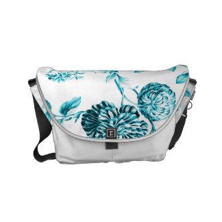 Besaces Toile floral moderne bleu et blanc d'Aqua de