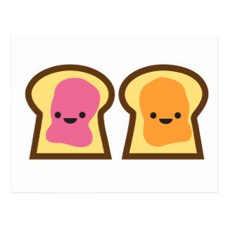 Beurre d'arachide et carte postale d'amis de pain