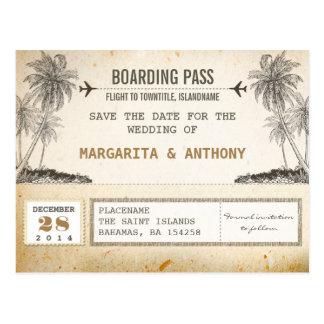 bewaart de vintage instapkaart van strandpalmen de briefkaart