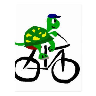 Bicyclette drôle d'équitation de tortue carte postale