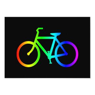 Bicyclette lumineuse d'arc-en-ciel d'Ombre Carton D'invitation 12,7 Cm X 17,78 Cm