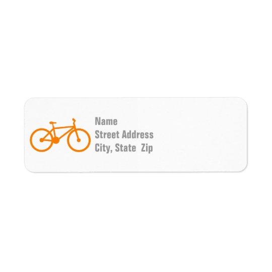 Bicyclette orange étiquette d'adresse retour