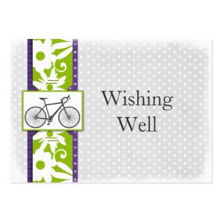 bicyclette pourpre de pois souhaitant les cartes modèles de cartes de visite