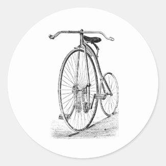 Bicyclette victorienne vintage de quart de penny autocollants ronds
