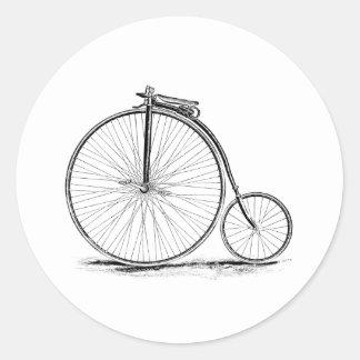 Bicyclette vintage de Haut-Roue de quart de penny  Autocollants Ronds