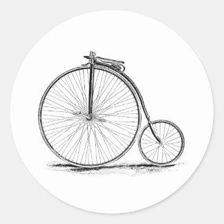 Bicyclette vintage de Haut-Roue de quart de penny Autocollant Rond