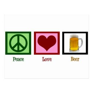 Bière d'amour de paix carte postale